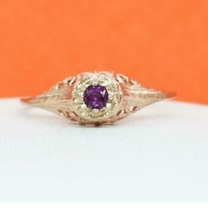 ART DECO PINK SILVER RING